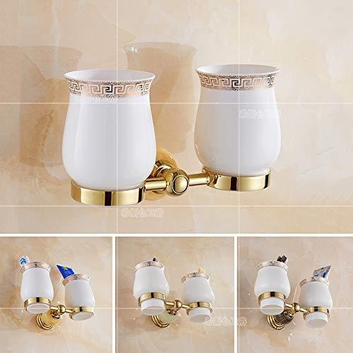 Amgend Europäische Bad Mundwash Becherhalter Haushalt Wasser Tasse Platzierung Rack Hängen Zahnbürstenhalter Paar Zahnbecher Halter Frei Lochen, Kaffee Jade Einzigen Tasse -