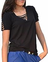 today-UK Women Fashion V-Neck Short Sleeve Bandage Solid Tops Blouse M Black
