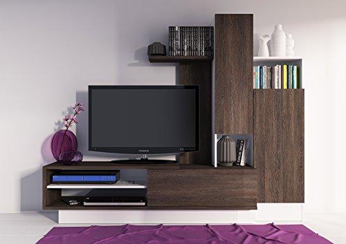Mueble de salón o comedor moderno en color wengue y blanco con armarios y espacios abiertos 163x200x40 cm