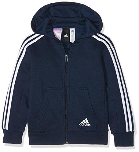 adidas Jungen 3 Stripes Fleece Full Zip Hooded Kapuzen-Jacke, Collegiate Navy/White, 128 - Hooded Zip