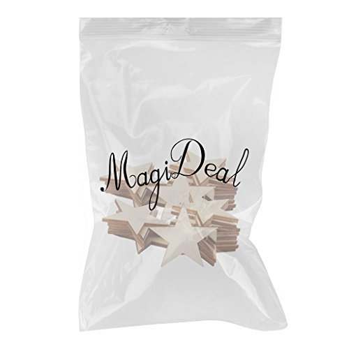 MagiDeal 50 Pieces 3mm Thick Star Shape Wooden Embellishments for DIY Crafts 50mm
