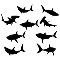 9 Sheets 21cm Width x 30cm Height Silhouette Sharks Kids Wall Stickers Wall Decals Peel and Stick Removable Wall Stickers for Kids Nursery, Bedroom and Living Room...
