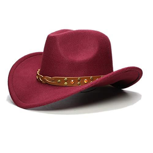 Höhere Männer Kind Wolle breiter Krempe Fashion Classic Cowboy Western Hut Junge Mädchen Cowgirl Bowler Cap Größe 52-54 Cm Elegantes Türkis-Gelb-Kristallband ( Farbe : Weinrot , Größe : 52-54cm ) (Red Bowler Hut Kostüm)
