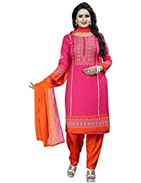 69b0dca7af Rensil Women's French Crepe Unstitched Salwar Suit Material (REN_VEDA  PINK_D_Pink_Free Size)