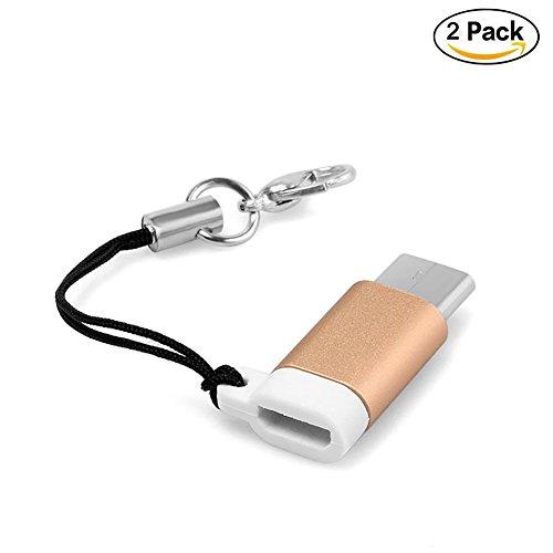 Preisvergleich Produktbild Aluminiumlegierung Mini USB 3.1 Art C mnnlicher Verbindungsst¨¹ck zum Mikro USB 2.0 / 3.0 weiblicher Daten Adapter Konverter f¨¹r F¨¹r Samsung, HTC, Huawei, LG und mehr (Gold, 2 Packs)