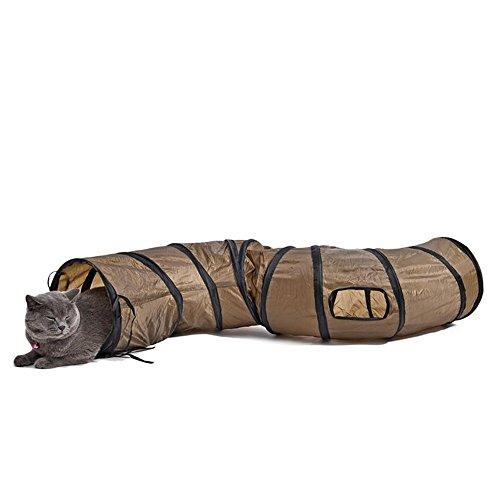 GOOTRADES Haustier Katzen Spiel Tunnel Braun Faltbar 1 Löcher Cat Bulk Kaninchen Play Tunnel Spielzeug
