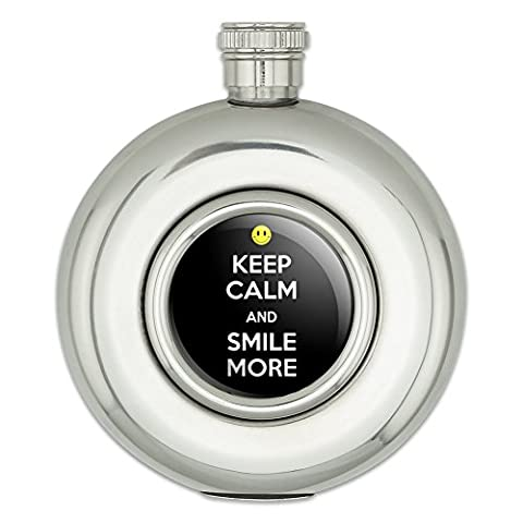 Round Stainless Steel 5oz Hip Flask Keep Calm and P-Y - Smile More Happy Face - Keep Calm and