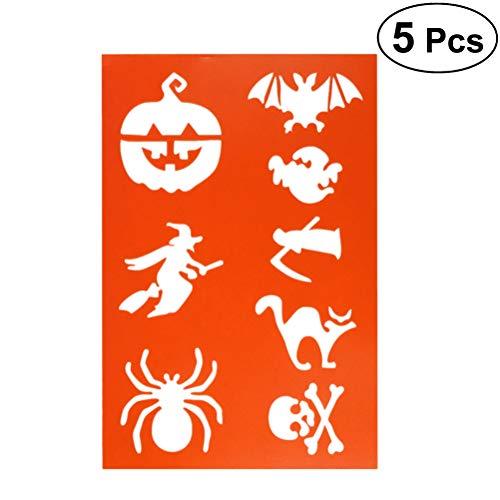 4 Halloween Hexe Kürbis Spinne Zeichnung Vorlagen für DIY Fotoalbum Scrapbooking Kuchen Machen (Orange) ()