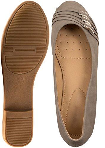 Loisirs Femmes Ballerines confortable pantoufles Chaussures Chaussures avec déco gris clair