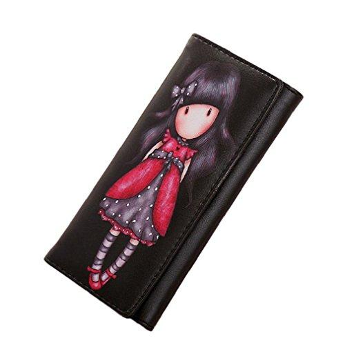 Preisvergleich Produktbild Tonsee Jahrgang Geldbörsen Cartoon Graffiti LORI Mädchen Frauen Brieftaschen Marke weibliche Cartoon Wallet Farben (schwarz)