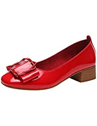 Gtagain Cuadrado Hebilla Zapatos Individuales - para Mujer Charol Tacón Bajo del Bloque Comodidad Bombas Moda