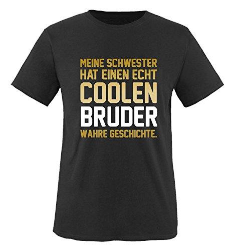 Comedy Shirts - Meine Schwester hat einen echt coolen Bruder wahre Geschichte. - Jungen T-Shirt - Schwarz / Gold-Weiss Gr. 134/146 (Kinder T-shirt Freiheit Die)