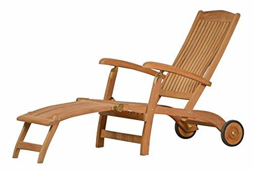 Premium Teak Deckchair aus der Serie 'Brighton' gefertigt aus Teakholz mit Rad/ massiv/ Liege/ Sonnenliege/ Liegestuhl/ Gartenliege/ Gartenmöbel/ Holz-Liege/ Teak-Liege/ klappbar/ zusammenklappbar/ Premium-Qualität