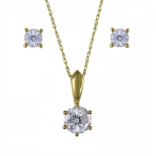 Ivy Gems, parure con orecchini punto luce in oro giallo da 9 kt, con zirconia cubica taglio 100 da 1,25kt e collana con ciondolo