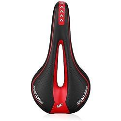 Asvert Sillín de Bicicleta Antiprostático Gel MTB Carretera Asiento Ciclismo Superior y Raíles de Acero de Carbono, Negro Rojo