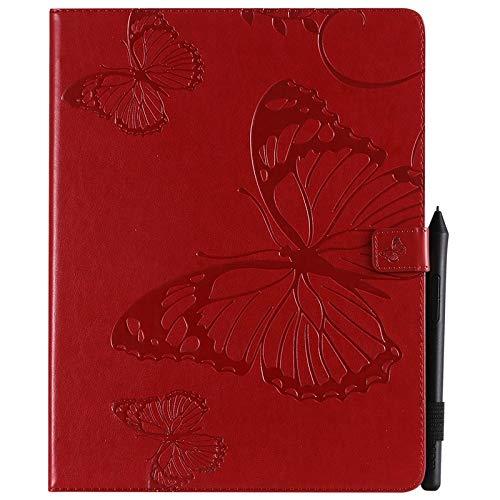 ANNFENG Mode Retro Schmetterlings-Blumenmuster PU-Leder-Mappe Anti-Kratzschutz-Schutzfall für neues iPad Pro 2018 (3. Gen), mit Halter-Kartensteckplatz-Mappe Abdeckung (Farbe : Rot) (Gummi-anmerkung Telefon-abdeckungen 3)