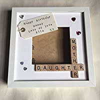 """Mummy Daughter Mother Personalised Scrabble Photo Frame (9x9"""") Created by CleverCHIC"""