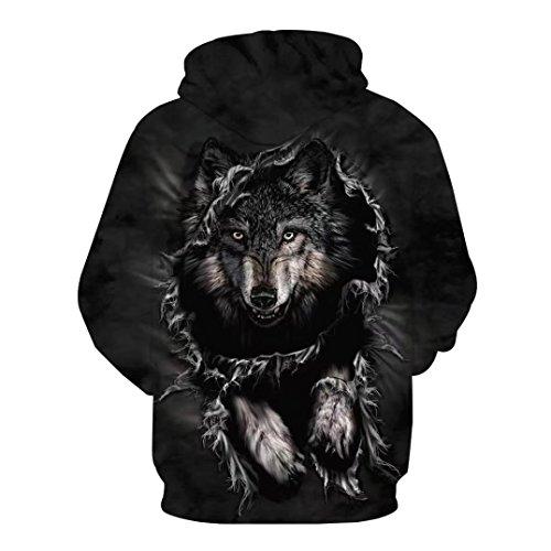 Unisexe imprimé 3D Loup Pull à manches longues Sweat à capuche Tops Chemisier - Autumnwind Noir