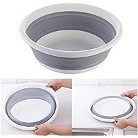 Pawaca Cuenco plegable portátil de silicona, multifuncional, almacenamiento para el hogar, para productos de baño, aperitivos, residuos, frutas, verduras y al aire libre, basin
