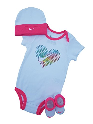 Mädchen Nike-socke Für (Nike Baby-set Mütze Strampler Socken Neu 3.Tlg (0 - 6 Monate 60 - 70cm, Weiß/Pink))