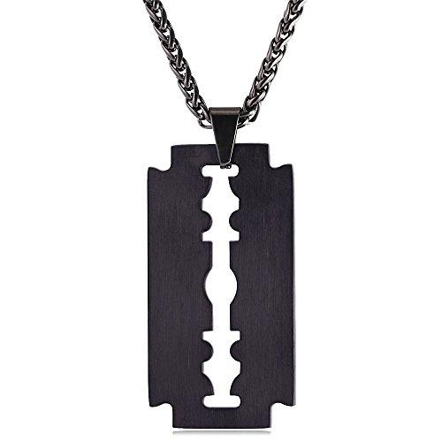 U7 Rasierklinge Anhänger mit Kette Schwarz Metall plattiert Halskette Razor Blad matt gebürstet Geschenk für Männer Herren Freund Junge, Schwarz-Ton