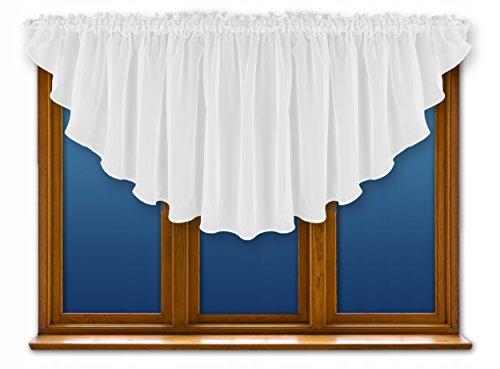 FKL Schöne Fertiggardine Fenstergardine Gardine aus Voile mit Faltenband Kräuselband Store Bogen Kurz Modern Weiß 300x80 cm LB-164