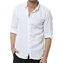 Najia Symbol Casual 100% Lino Camisa Para Hombre Manga Larga Club Collar Shirt