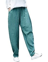 f79d04c15f ADELINA Mujer Pantalon Lino Fashion Elegantes Cómodo Elastische Taille  Vintage Unicolor Pantalones Harem Anchas Hippie Pantalones