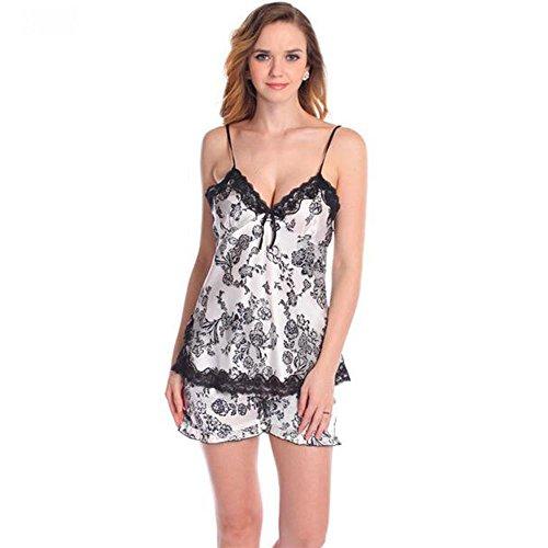Frau Seide Shorts und Strapsen Training Stück sexy backless Sommermodelle ausgestattet White Black