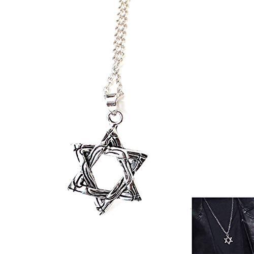 Sechszackigen Stern Halskette Silber überzogene Kettenstern-Anhänger Platin-Halskette für Mann
