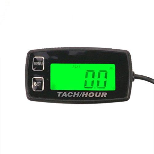 foundown Motor Stunde Meter Induktive Tachometer Gauge Hintergrundbeleuchtung Digital zurücksetzbar Tachometer für 2/4-Takt Motoren Motorrad Marine Glider ATV Traktoren Rasenmäher Schneemobil Boot 35R
