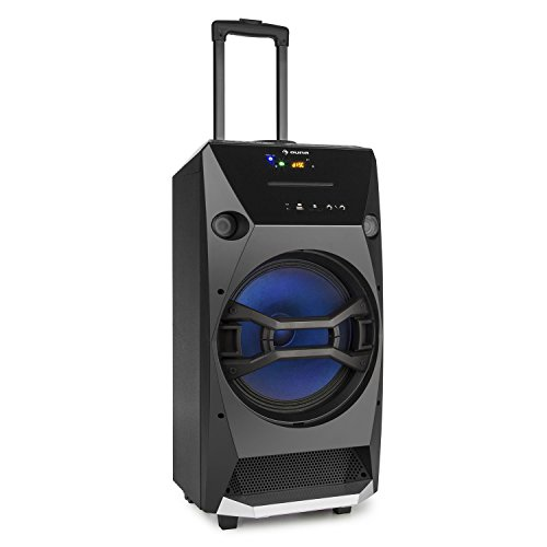 AUNA BROOKLYN BEAT ALTAVOZ MOVIL PARA FIESTAS (100 W RMS  BLUETOOTH  USB SD CD RADIO FM  PORTATIL  ILUMINACION LED  CONEXION PARA MICROFONO)