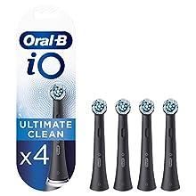 Oral-B iO Ultimate Clean Testine di Ricambio per Spazzolino Elettrico Nere, 4 Pezzi, Pacco Adatto alla Buca delle Lettere, Versione Vecchia