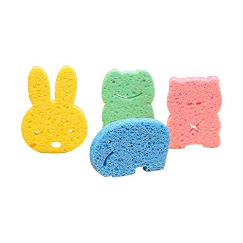 4 Stücke Baby Badeschwamm Duschschwamm Massageschwamm Cartoon Form für Neugeborene Kinder Erwachsene Baby Badewannenspielzeug Einschließlich Blauer Elefant,Gelbes Häschen,Rosa Schwein,Grüner Frosch