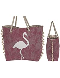 55e210e93478c Bavaria Home Style Collection - Shopper naturfarbenen pink Flamingo Design  - moderne Strandtasche Schultertasche…