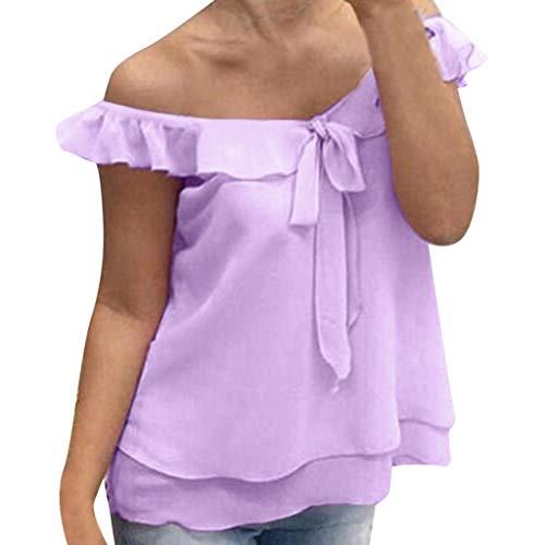 KIMODO Damen T-Shirt Einfarbig Lose Chiffon Lässige Bluse Sommer Oberteile Büro Fliege Tank Tops Große Größen (Sleeve Shirt Jacquard)