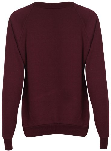 Damen Brooklyn New York Athletic 76 Universitätsaufdruck Damen Lang Raglan-ärmel Crew Halsausschnitt Sweatshirt Pulli Top - Weinrot, 40-42 (Baseball Shirt Raglan-Ärmel)