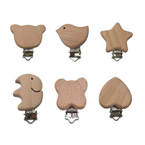 Toyvian Holz Schnullerclips Set Schnullerketten Clips Schnuller Halter Baby Beißring für Neugeborene Krankenpflege Spielzeug 6 Stücke (Clip Vogel Schnuller)