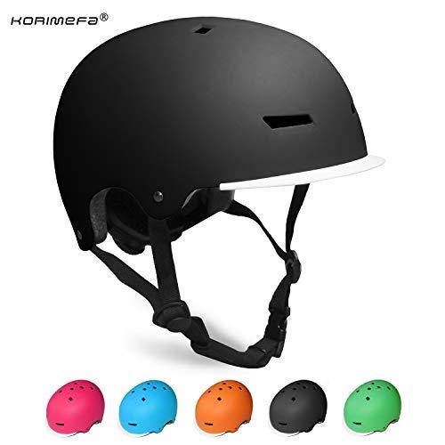 KORIMEFA Kinder Skateboard Helm Kind Fahrrad Schutzhelm 3-13 Jahre alt Jungen und Mädchen Kinder Verstellbarer Helm BMX Reiten Roller Inline Skating (Schwarz, S)