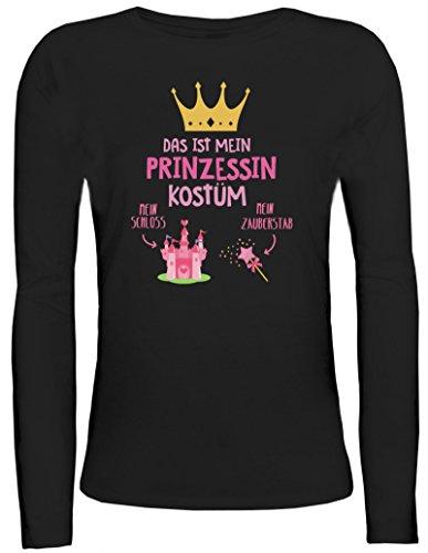 Fasching Karneval Damen Longsleeve Langarm T-Shirt mit Das ist mein Prinzessin Kostüm 1 Motiv Schwarz
