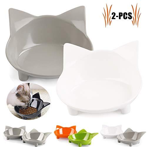 Legendog Futternapf Katze, 2 Stück rutschfest Katzen Napf   Katzennapf Set   Fressnapf Katze   Futterschüssel Katze   Wasser Fütterung Schüssel (grau+weiß)