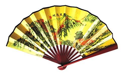 CHN Elements.home&kitchen F-L7 Handfächer, chinesisch, dünn, Seide, faltbar, Wanddekoration mit orientalischen Mustern an der großen ()