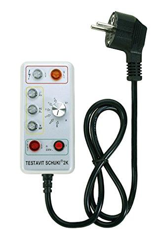 Testboy Testavit Schuki 2K Steckdosenprüfgerät, optische Anzeige, mit einstellbarer FI Auslösung