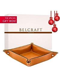Belcraft Orvieto Leather Tidy Tray, Handmade Classic Italian Style, Key Wallet, Coin Box, Tan (19x19 cm)
