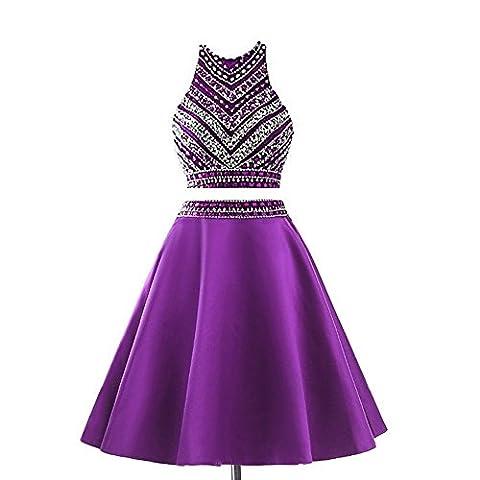 JYDress Damen 2 Stück Perlen Heimkehr Kleid Satin Kurze Abendkleid