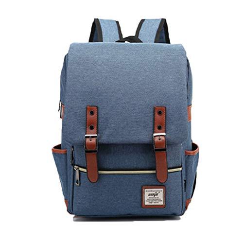 Vintage Laptop Rucksack Frauen Leinwand Taschen Männer Oxford Reise Freizeit Rucksäcke Retro Casual Bag Schultaschen Für Teenager Blue 14 inches -