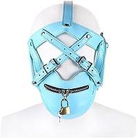 PU Cuero Arnés De Cabeza Adulto Bondage Mask Party Props Mascarada Producto BDSM Esclavo Sex Mask Esclavitud Capucha Con Bloqueo,Blue