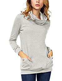 DJT Femme T-shirt Pull Manches longues Blouse Col a Boutons avec Poches