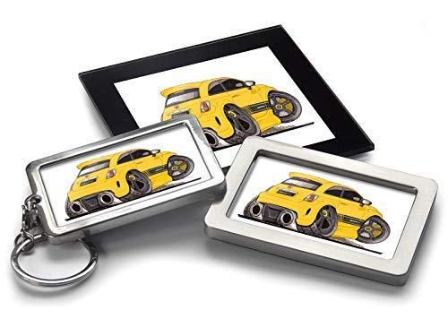 Koolart - Llavero de Coche con diseño de Dibujos Animados de Fiat 500, Paquete de Regalo
