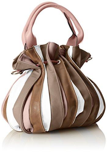 CTM Borsa a mano da donna, borsa a sacca in vera pelle made in Italy 28x27x28 Cm Rosa